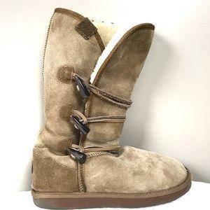 Emu tan sheepskin lined mid calf boots